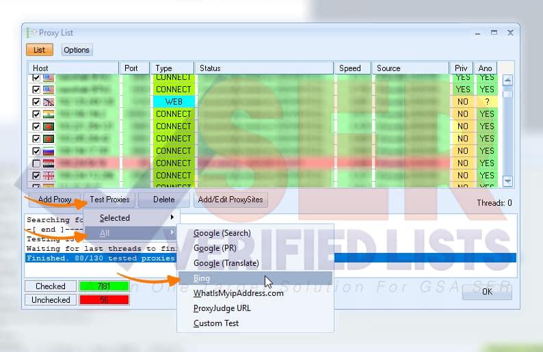 Test Proxies - GSA SER - SER Verified Lists